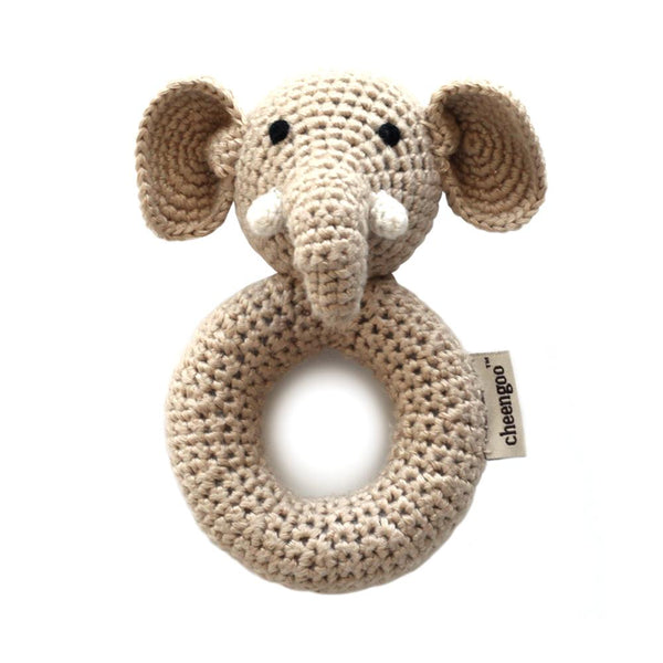 Crocheted Hand Ring Rattle Elephant