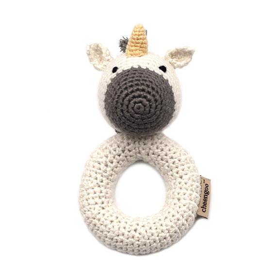 Crocheted Hand Ring Rattle - Unicorn