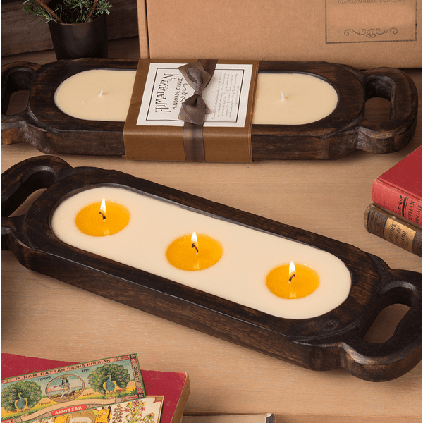"Red Currant 19"" Wooden Candle Tray"