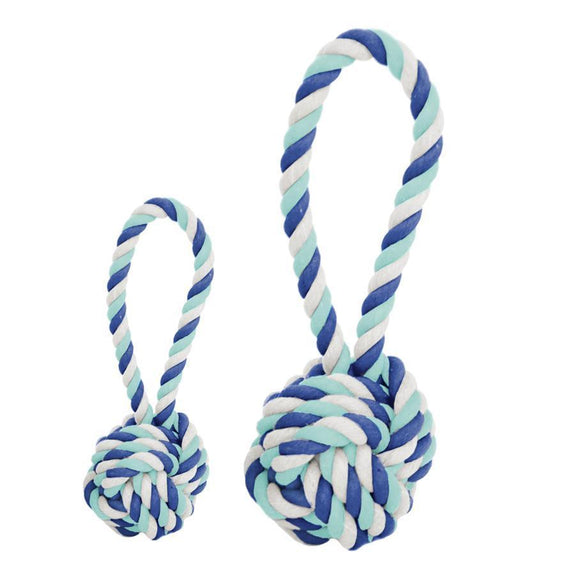 Cotton Rope Tug and Toss Dog Toy - Small - Multi Aqua