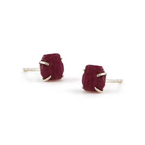 Raw Ruby Stud Earrings