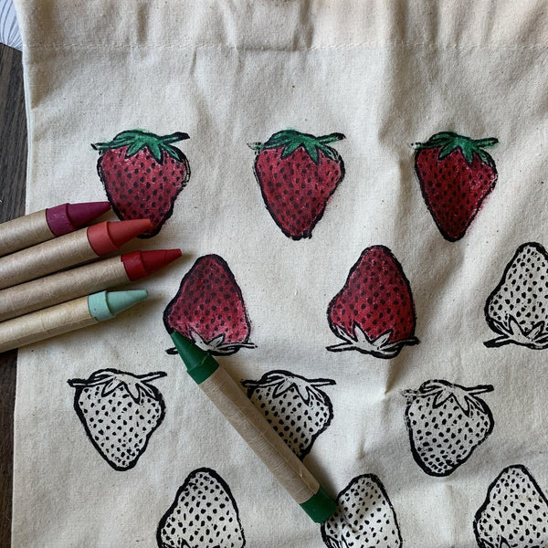 Strawberry Color Your Own Market Tote Kit
