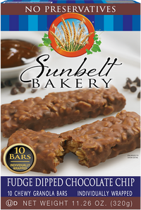 Fudge Dipped Chocolate Chip Chewy Granola Bars, 10 Bars