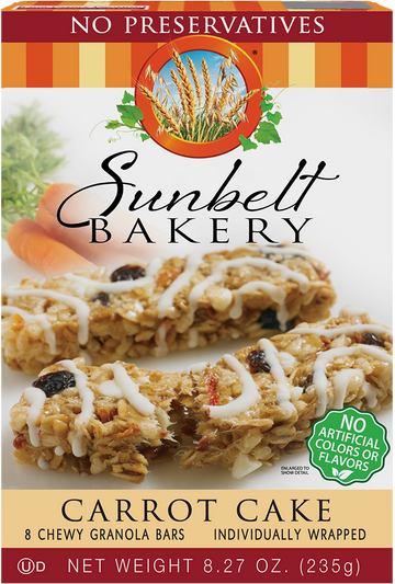 Carrot Cake Chewy Granola Bars, 8 Bars