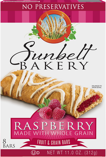 Raspberry Fruit & Grain Bars, 8 Bars