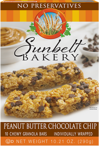 Peanut Butter Chocolate Chip Chewy Granola Bars, 10 Bars