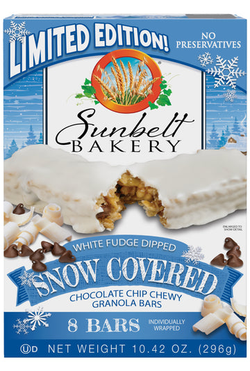 Snow Covered Chocolate Chip Chewy Granola Bars