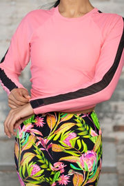 May Pink Crew Neck Mesh Long Sleeve Swim Top