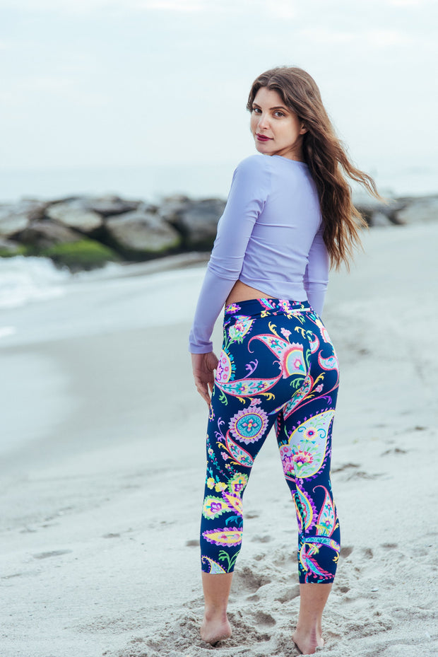 Blue Paisley Capri Swim Leggings