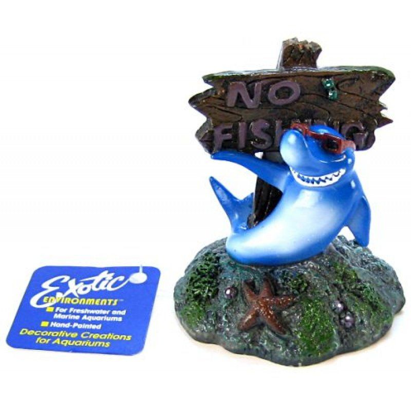 Blue Ribbon Cool Shark No Fishing Sign Ornament