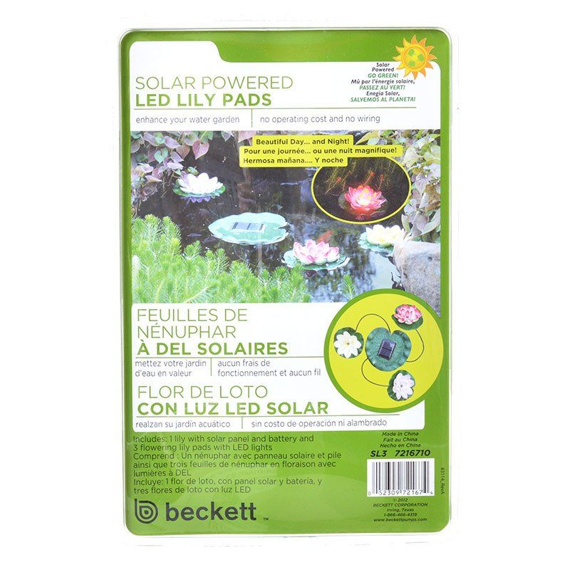 Beckett Solar LED Lily Lights for Ponds