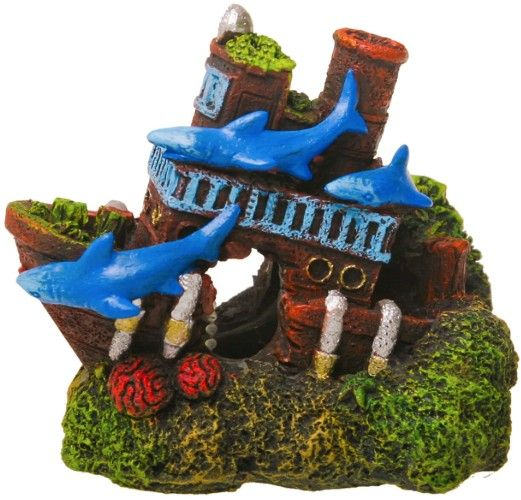 Blue Ribbon Exotic Environments Shark Shipwreck Aquarium Ornament
