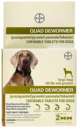 BAYER Quad Dewormer for Large Dogs Over 45 lbs 2 Chewable Tablets