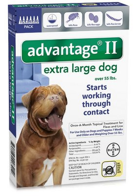 ADVANTAGE II Dog over 55 lbs Blue 6 Pack