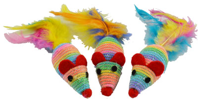 AMAZING Cat Rainbow Sparkle Mice 3 Pack