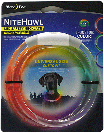 NITE IZE NiteHowl Rechargeable LED Safety Necklace Disc O Select