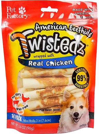 PET FACTORY American Beefhide Twistedz Chicken Wrap Mini Rolls 14pk