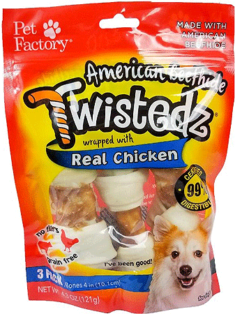 PET FACTORY American Beefhide Twistedz Chicken Wrap Bones 3pk