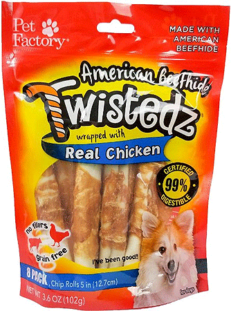 PET FACTORY American Beefhide Twistedz Chicken Wrap Chip Rolls 8pk