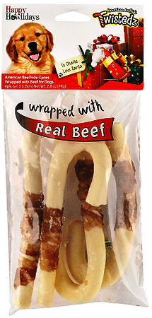 PET FACTORY Holiday Twistedz Beefhide Cane w Beef 6 4pk