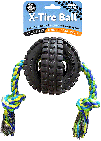 PET QWERKS Jingle X Tire Ball w Rope S