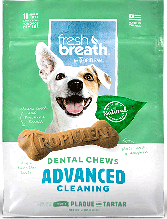 TROPICLEAN Fresh Breath Dental Chews Advanced Cleaning Regular 10ct