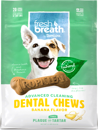 TROPICLEAN Fresh Breath Dental Chews Banana Small 20ct