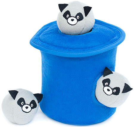 ZIPPYPAWS Zippy Burrow Raccoons Trash Can w/Bubble