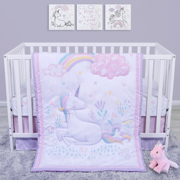 Sammy and Lou Sweet Unicorn 4 Piece Crib Bedding Set