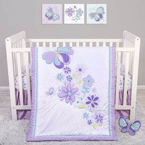 Sammy and Lou Butterfly Meadow 4 Piece Crib Bedding Set