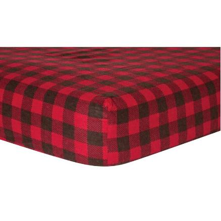 Brown and Red Buffalo Check Deluxe Flannel Fitted Crib Sheet