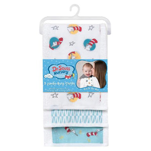 Dr. Seuss Cat in the Hat 3 Pack Jumbo Burp Cloth Set