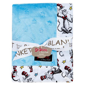 Dr. Seuss Cat in the Hat Blue Framed Baby Blanket