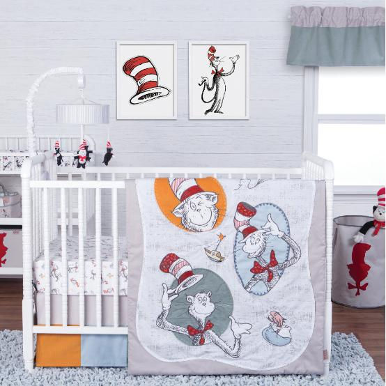 Dr. Seuss Classic Cat in the Hat 3 Piece Crib Bedding Set