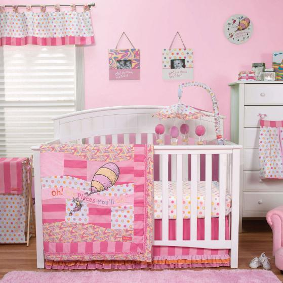Dr. Seuss Oh, the Places You'll Go! Pink 3 Piece Crib Bedding Set