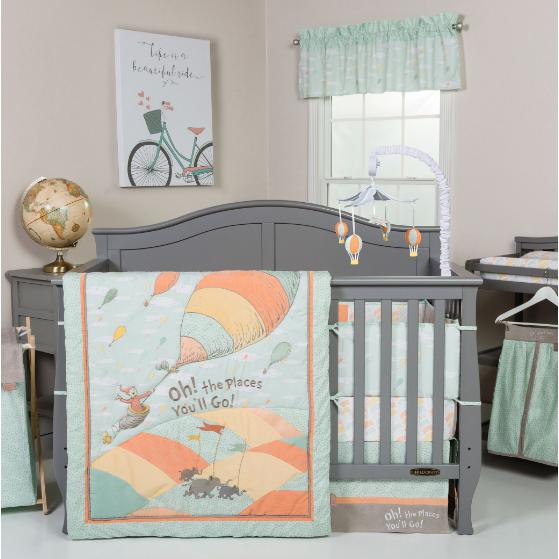 Dr. Seuss Oh, the Places You'll Go! Unisex 5 Piece Crib Bedding Set