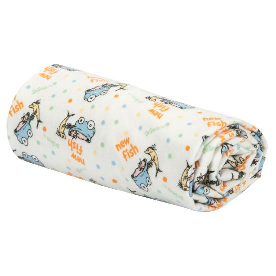 Dr. Seuss One Fish, Two Fish Flannel Swaddle Blanket