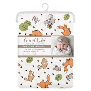 Friendly Forest Deluxe Flannel Swaddle Blanket