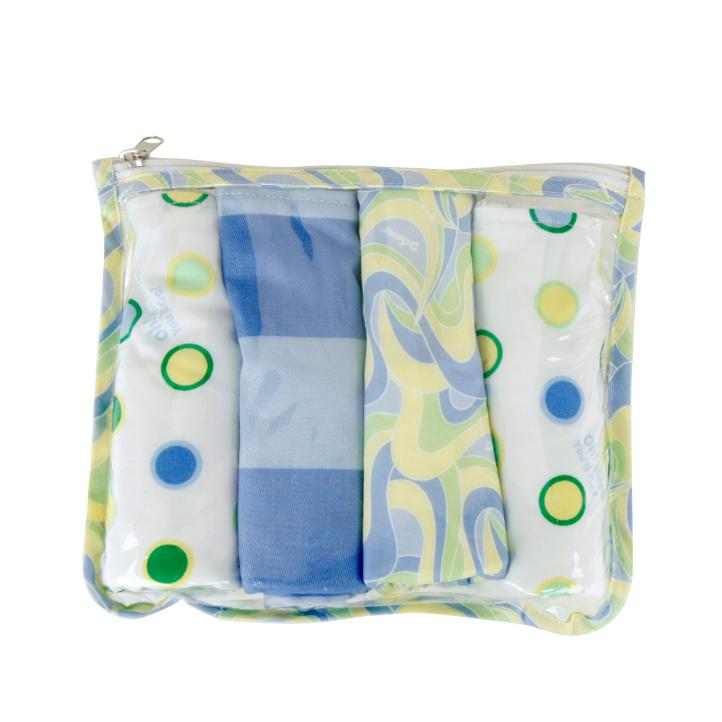 Gift Set - Dr. Seuss Blue Oh, The Places You'Ll Go! Zipper Pouch And  4 Burp Cloths