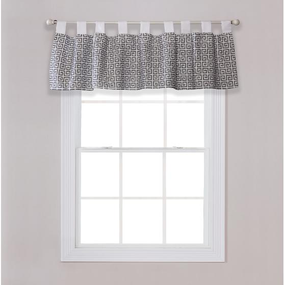 Gray Greek Key Window Valance