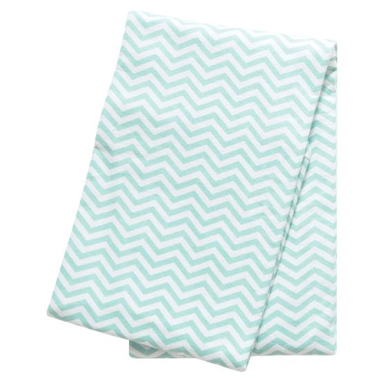 Mint Chevron Deluxe Flannel Swaddle Blanket