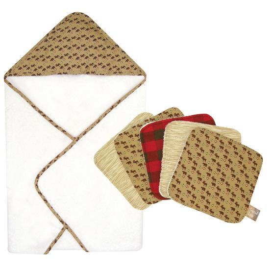 Northwoods 6 Piece Deluxe Hooded Towel and Wash Cloth Set