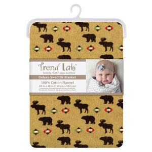 Northwoods Animals Deluxe Flannel Swaddle Blanket