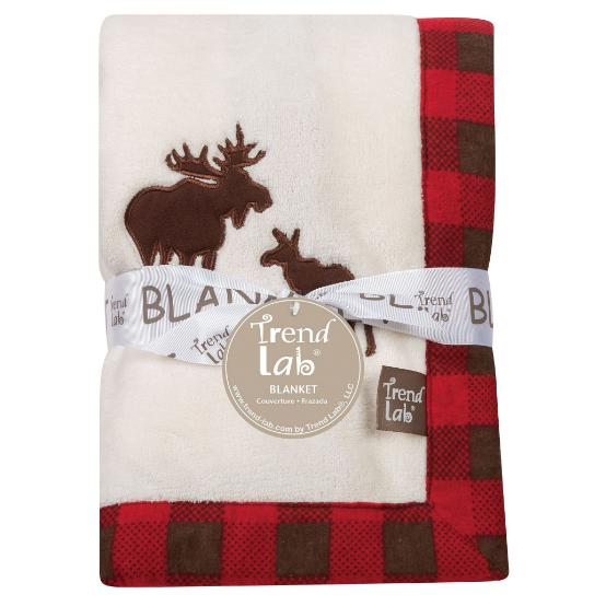 Northwoods Moose Framed Coral Fleece Baby Blanket