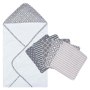 Ombre Gray 6 Piece Deluxe Hooded Towel and Wash Cloth Set