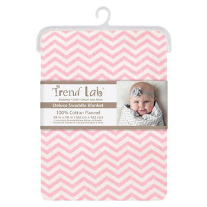 Pink Chevron Deluxe Flannel Swaddle Blanket