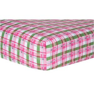 Pink Plaid Deluxe Flannel Fitted Crib Sheet