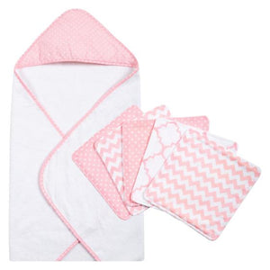 Pink Sky 6 Piece Dot Hooded Towel and Wash Cloth Set
