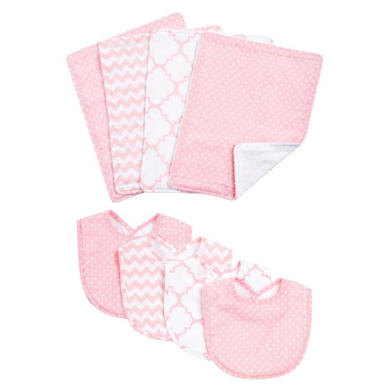 Pink Sky 8 Piece Bib and Burp Cloth Set