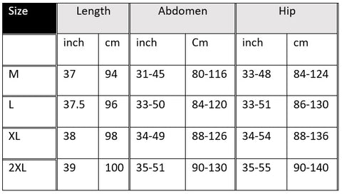maternity leggings size chart